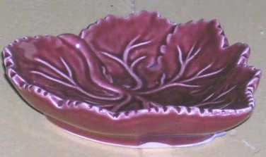 Olfaire Majolica Bowl Tray Red Maple Leaf Footed Embossed Ceramic Portugal New