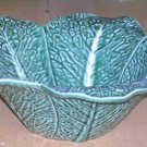 Bordallo Majolica Bowl Serving Savoy Cabbage Leaf Embossed Petal Shape Large New