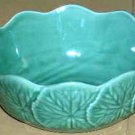 Bordallo Majolica Bowl Green Geranium Soup Salad Dessert Embossed Stoneware New
