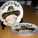 Rosanna Plates Pilgrim Giving Thanks Spice Cake Stoneware Set 4 New