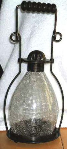 Garden House Lantern Lamp Clear Crackle Glass Candle Bronze Metal New