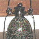 Garden House Lamp Lantern Mosaic Orange Green Glass Candle Bronze Metal New
