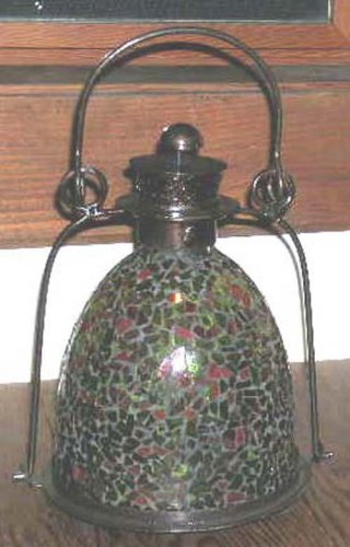 Garden House Lamp Lantern Mosaic Orange Green Glass Candle Bronze Metal New