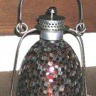 Garden Lantern Lamp Mosaic Orange Red Clear Pillar Candle Glass Silver Metal New