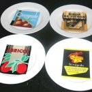Rosanna Plates French Soda Labels Orangeade Stoneware Dessert Lunch Salad 4 New