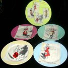 Rosanna Plates Retro Entertaining Women 1950's Dessert Salad Stoneware Set 4 New
