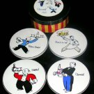 Rosanna Coasters Waiters Cheers Wine Martini Beer Salute Stoneware Set 4 New