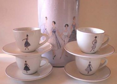 Rosanna Espresso Cup Saucer Set Lavender French Fashion Stoneware 8 Pc New