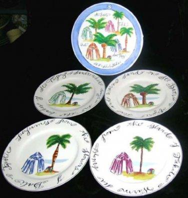 Rosanna Plates Palm Tree Tahiti Beach Tropical Islands Dessert Stoneware New