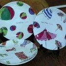 Rosanna Plates Summer Fun Beach Ball Umbrella Dessert Stoneware Chairs Set 3 New