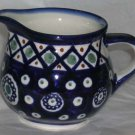 Boleslawiec Polish Pottery Cream Pitcher Cobalt Chain Cross Hatch Stoneware New