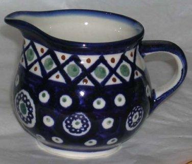 Boleslawiec Polish Pottery Cream Pitcher Cobalt Chain Cross Hatch Stoneware New