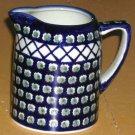 Boleslawiec Polish Pottery Olives Cross Hatch Pitcher Cobalt Green Small New