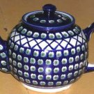 Boleslawiec Polish Pottery Teapot Olives Cross Hatch Stoneware Cobalt Poland New