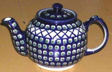 Boleslawiec Polish Pottery Teapot Olives Cross Hatch Stoneware Cobalt Poland New