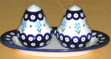 Boleslawiec Polish Pottery Salt Pepper Shakers Underplate Set Cornflower 3Pc New