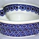 Boleslawiec Polish Pottery Bowl Heart Shaped Daisy Chain Stoneware Poland New