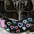 XOXO Slouch Handbag Blind Love Black Sequined Hearts Purse Clubbing New