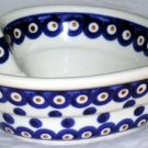 Boleslawiec Polish Pottery Bowl Heart Shaped Indigo Dot Small Serving Poland New