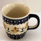 Polish Pottery Mug Marupartura Hand Made Stamped Art Poland Blue Floral Signed