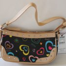 XOXO Tote Handbag Black Jelly Adoration Purse Tote Chrome Heart Grommets New