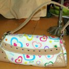 XOXO Tote Flap Top Jelly Hand Bag Adoration White Multi Hearts Purse Chrome New