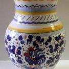 Dip a Mano Deruta Vase Rooster Italian Majolica Geometric Floral Stoneware Italy