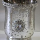 Mercury Glass Candle Holder Place Setting Antiqued Silver Mirror Rhinestones New