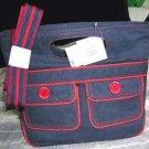 Tommy Hilfiger Satchel Natural Dye Navy Handbag In the Band Twill Shoulder Strap