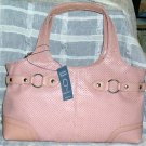 Nine West Satchel Cosmetic Bag Key Chain Pink Ring Around Perforated 3pc NEW