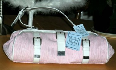 Cynthia Rowley Handbag Tote Frame Bag White Leather & Pink Fabric New Designer