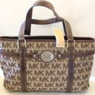 Michael Kors Tote Shield Handbag Brown Leather Monogram MK Jacquard New Designer