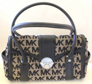 Michael Kors Satchel Westbury Handbag Black Leather Beige MK Monogram Tote New