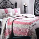 Cynthia Rowley Quilt Bedding Set Patchwork Queen Shams Hand Stitched 3pc NEW