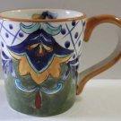 Terra Bella Mug Talavera Style Majolica Hand Painted Geometric Beverage New