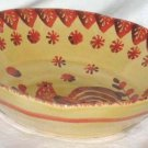 Ita Lica Ars Bowl  Rooster Farm House Hand Painted Soup Salad Italy Orange New