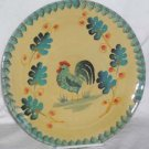 Ita Lica Ars Plate Rooster Farm House Hand Painted Dessert Italy Teal Blue New