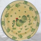 Ita Lica Ars Plate Dinner Rooster Green Country Hand Painted Stoneware Italy New