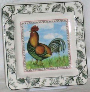 Italian Brunelli Plate Rooster Green Orange Dessert Salad Lunch Stoneware Italy