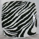 Roscher Plate Zebra Stripes Black White Square Dessert Salad Stoneware New