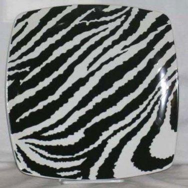 Roscher Plate Zebra Stripes Black White Square Dessert Salad Stoneware New