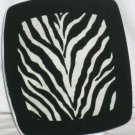 Roscher Plate Untamed Zebra Black White Animal Print Square Dessert Dramatic New