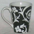 Roscher Mug Cortona Black White Floral Coffee Tea Stoneware Embossed New