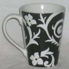 Roscher Mug Samantha Black White Floral Coffee Tea Stoneware Embossed New