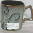 Roscher Mug Olivia Hand Painted Brown Floral Square Stoneware Geometric New