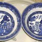 Johnson Bros Bowls Willow Transferware Cobalt Cereal Soup Stoneware Set 2 New