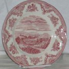 Johnson Bros Plate Red Pink Chatsworth Castle Dessert Porcelain Transferware New