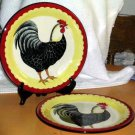 Country French Plates Dinner Rooster Hand Painted Pictorial Stoneware Set 2 New