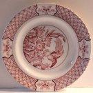 Wood & Sons Enoch Plates Red Pink Transferware Yuan Salad Dessert Set 2 New