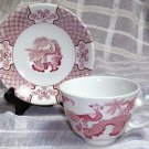 Wood & Sons Cup & Saucer Red Pink Yuan Pheasant Flowers Stoneware Enoch New